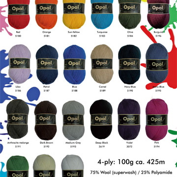 Opal Solid Colour sock yarn
