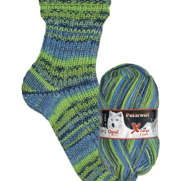 9432 frozen landscape Opal polar wolf 8 ply sock yarn